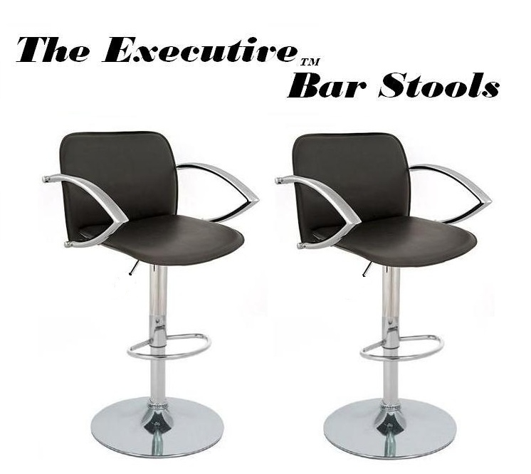 The Executive Modern Adjule Bar Stool Black Set Of 2